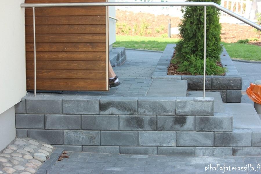 Pihasuunnittelu ja mittakaavassa piirtäminen on tärkeää. Kuvassa oven edessä portaat betonikivestä ja sivussa luiska. Eli pihasuunnitelmassa näille varataan riittävästi tilaa.